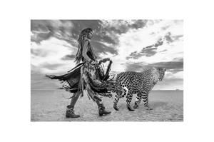Bilde av Kriger og Leopard - Glass Bilde (150x90)