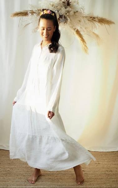 Bilde av Nectar Lisa Linen Dress White