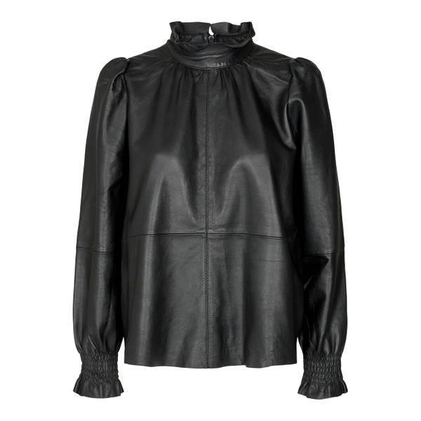 Bilde av Co'couture Harvie Leather Blouse Black