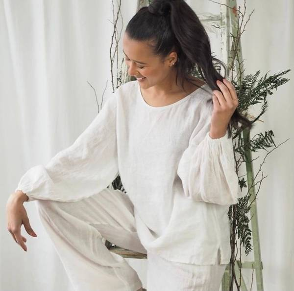 Bilde av Nectar Ebba Linen Blouse White
