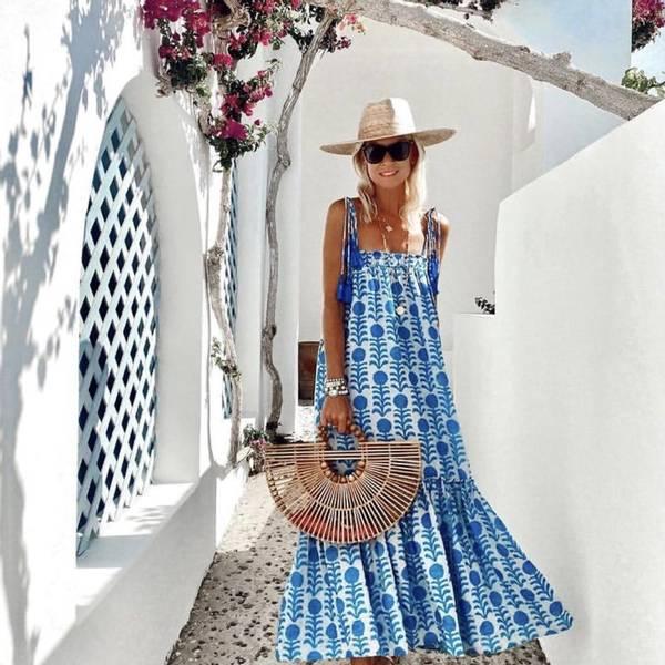 Bilde av Pearl and Caviar Zakar Maxi Sun Dress Blue