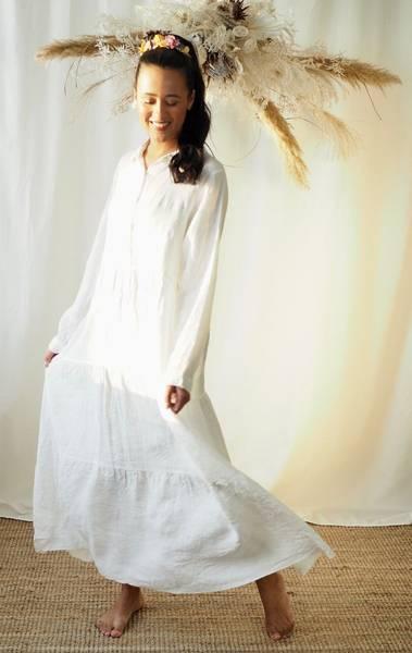 Bilde av Nectar Lisa Linen Long Dress White