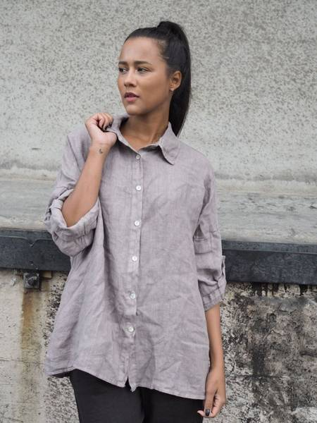 Bilde av Nectar Julie Linen Shirt Taupe