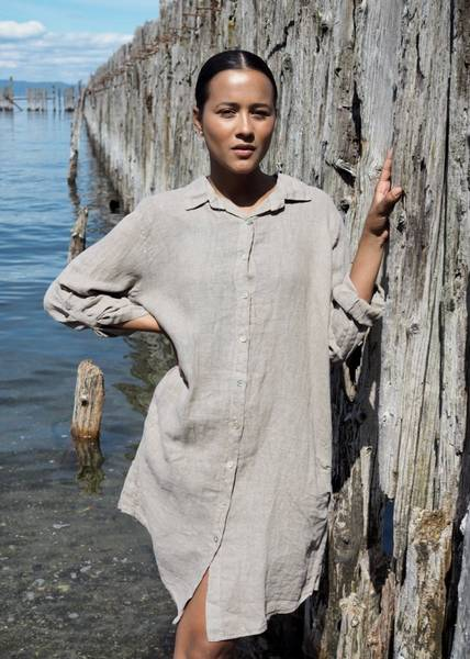 Bilde av Nectar Thale Linen Dress Taupe