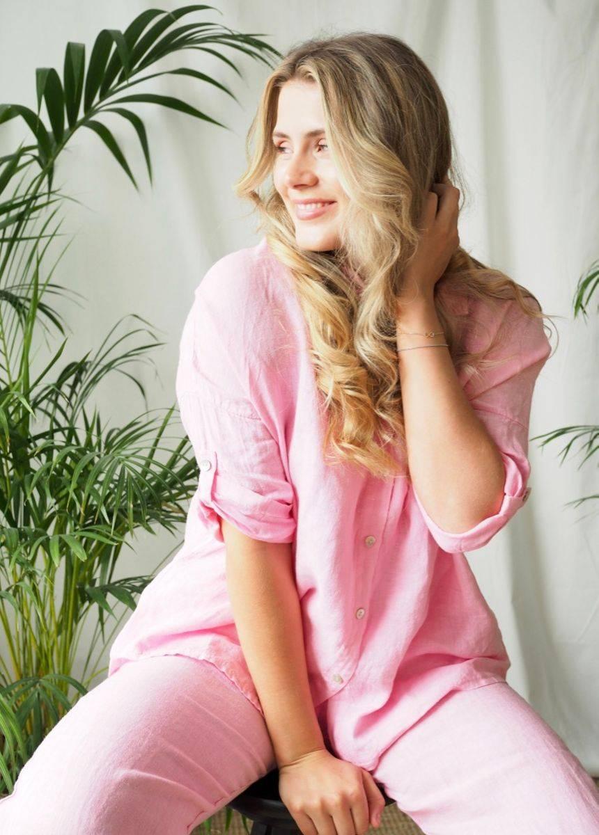 Nectar Julie Linen Shirt Bubblegum