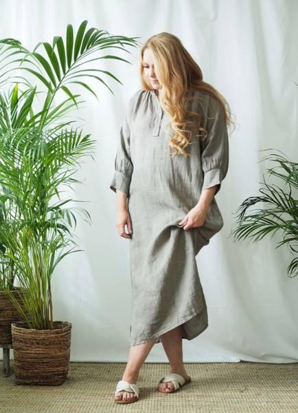 Bilde av Nectar Wilma Linen Dress Queensize Taupe