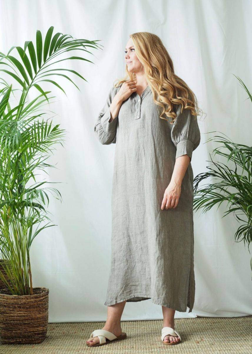 Nectar Wilma Linen Dress Queensize Taupe