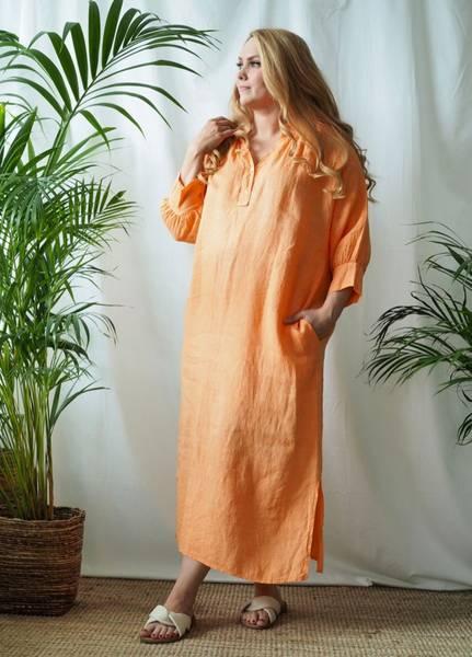 Bilde av Nectar Wilma Linen Dress Queensize Mandarine Haze