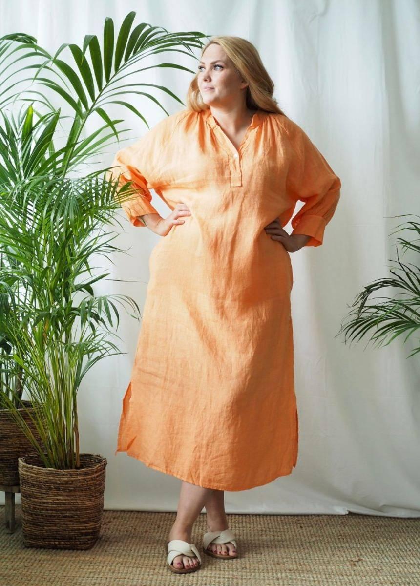 Nectar Wilma Linen Dress Queensize Mandarine Haze