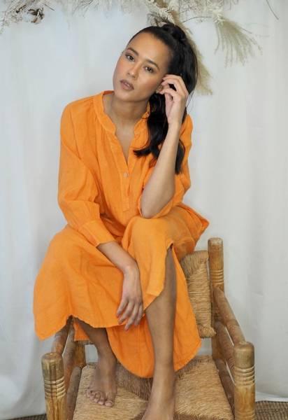 Bilde av Nectar Wilma Linen Dress Mandarine