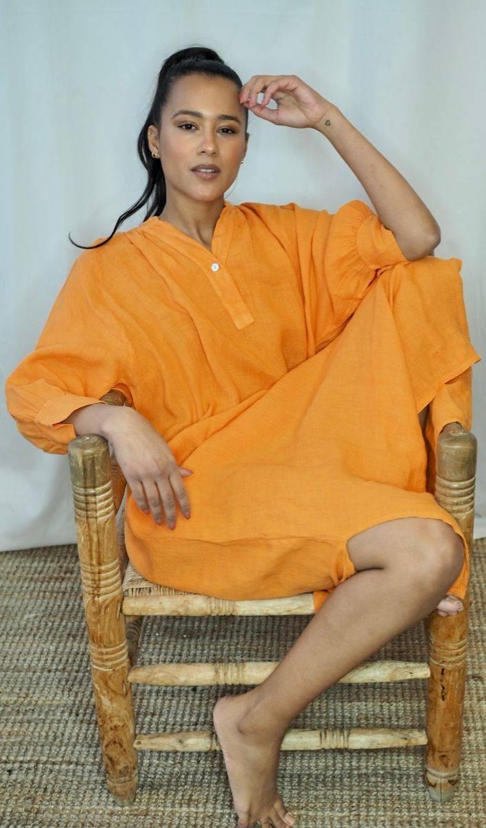 Nectar Wilma Linen Dress Mandarine