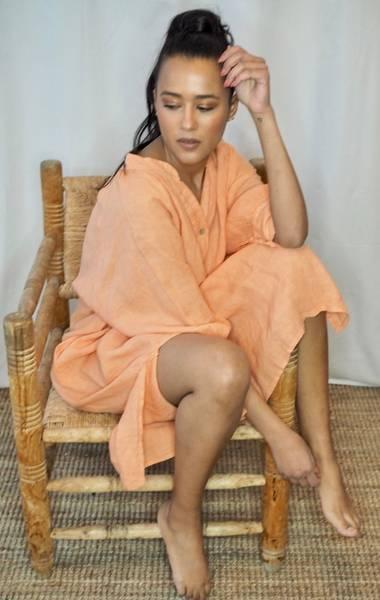 Bilde av Nectar Wilma Linen Dress Mandarine Haze