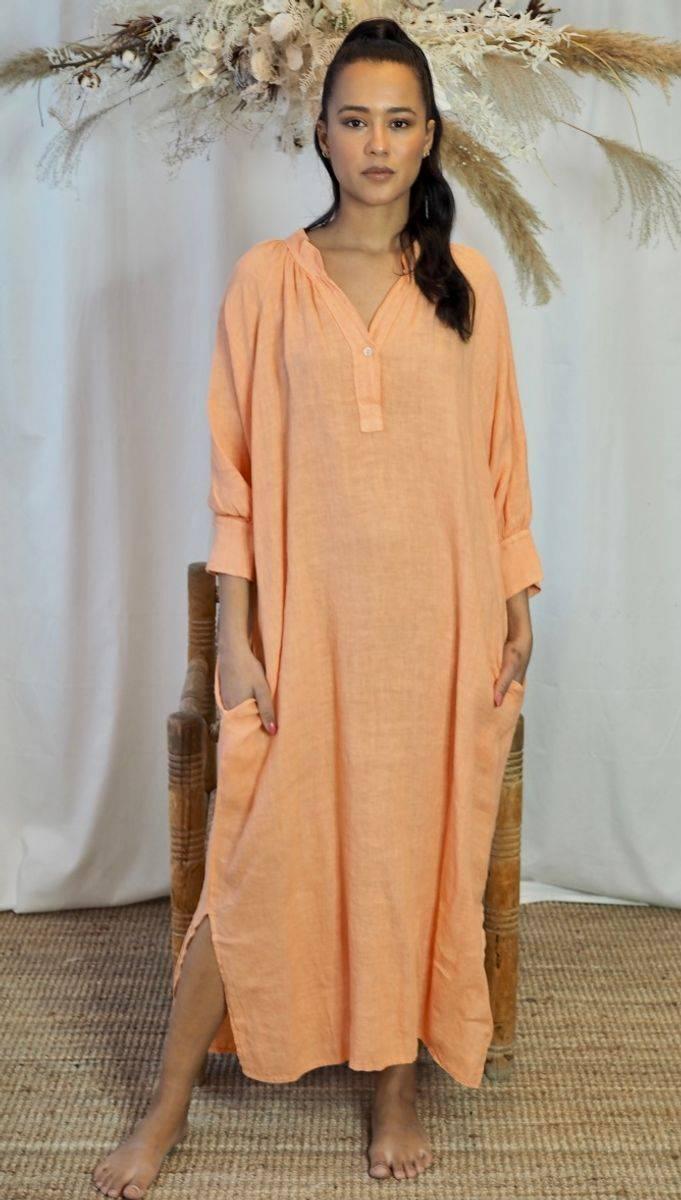 Nectar Wilma Linen Dress Mandarine Haze