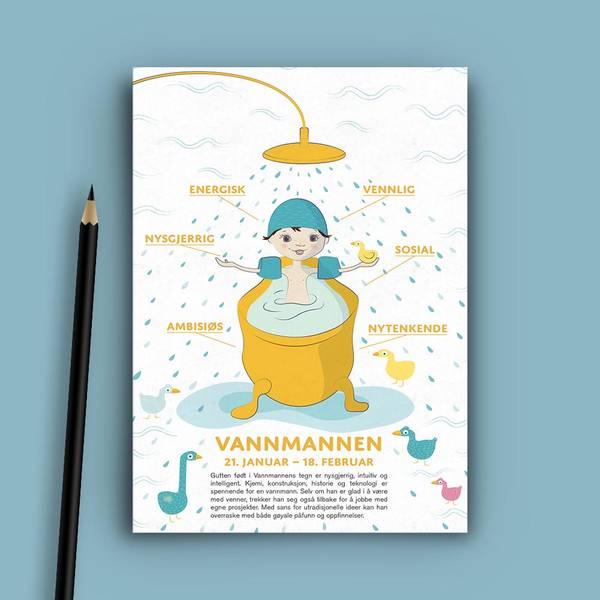 Bilde av Postkort: Vannmannen gutt utgående design
