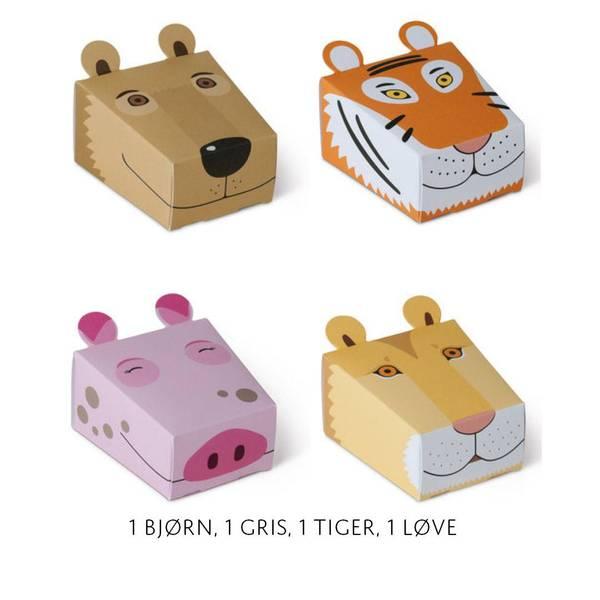 Bilde av 4pk med bjørn, gris, tiger, løve