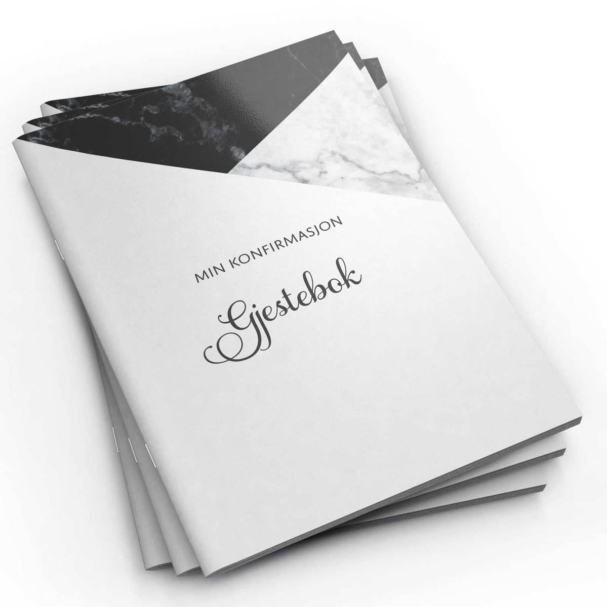 Gjestebok - Min konfirmasjon (svart marmor)