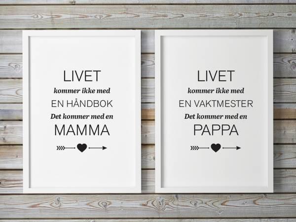 Bilde av PAKKEPRIS Mamma og Pappa plakatene