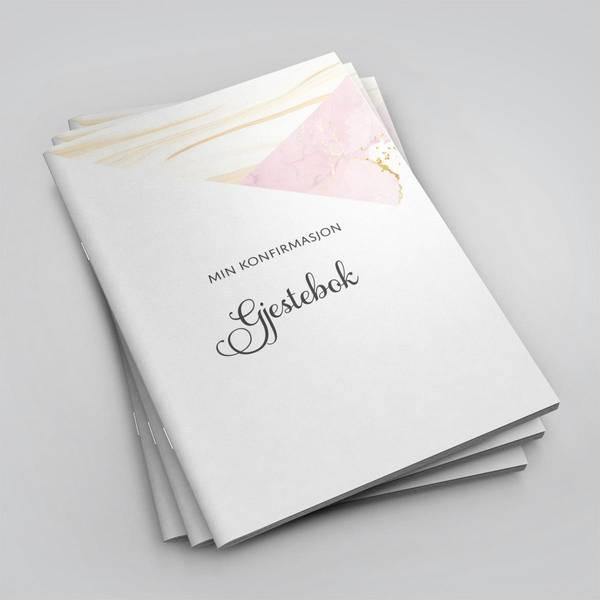 Bilde av Gjestebok - Min konfirmasjon (rosa marmor)