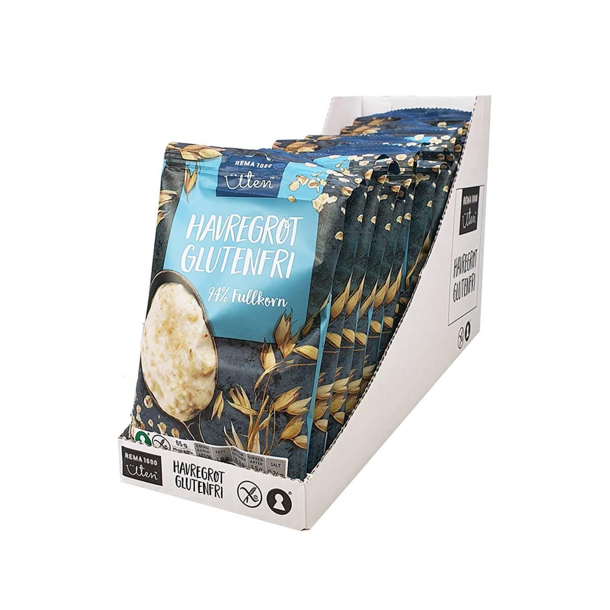 Havregrøt glutenfri naturell (Kartong 16stk)