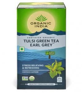 Bilde av Organic India Tulsi Green Tea Earl Grey 25 poser