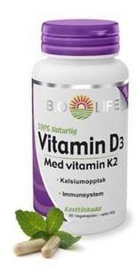 Bilde av Bio-Life Vitamin D3 80 mcg med vitamin K2 60 kapsler