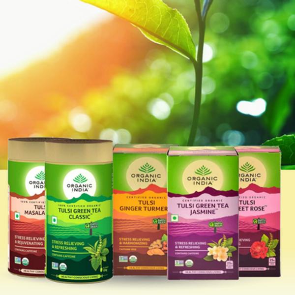 Organic India Tulsi Tea Holy Basil økologiske urteteer grønne teer svarte teer