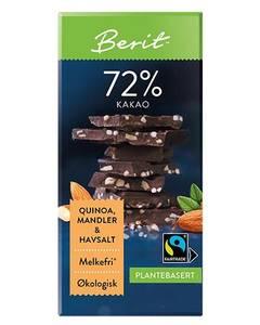 Bilde av Berit N Sjokolade med Quinoa og mandel. 72% kakao