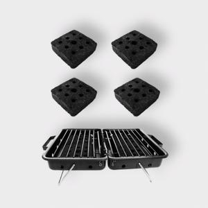 Bilde av Barbeco startpakke. Grill fylt med briketter.