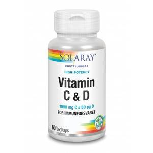 Bilde av Solaray Vitamin C+D 60 kaps