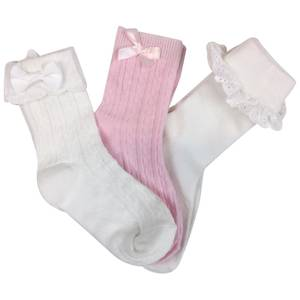 Bilde av 3pk pensokker - hvit/rosa