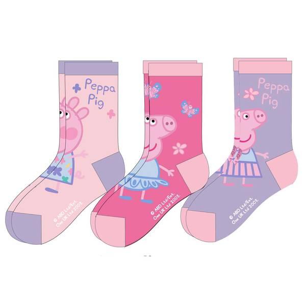 3pk sokker - Peppa Gris - Rosa/Lilla
