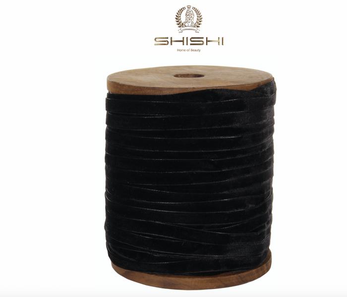 Shishi Fløyelsbånd Sort 1 cm (Pris pr meter)