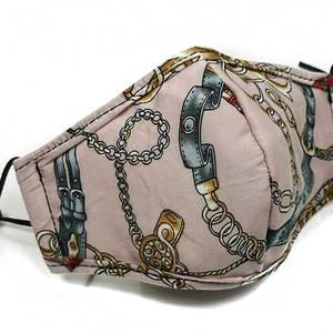 Bilde av  Munnbind i rosa bomull med lenker
