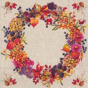 Bilde av Autumn Wreath Linen servietter lunch