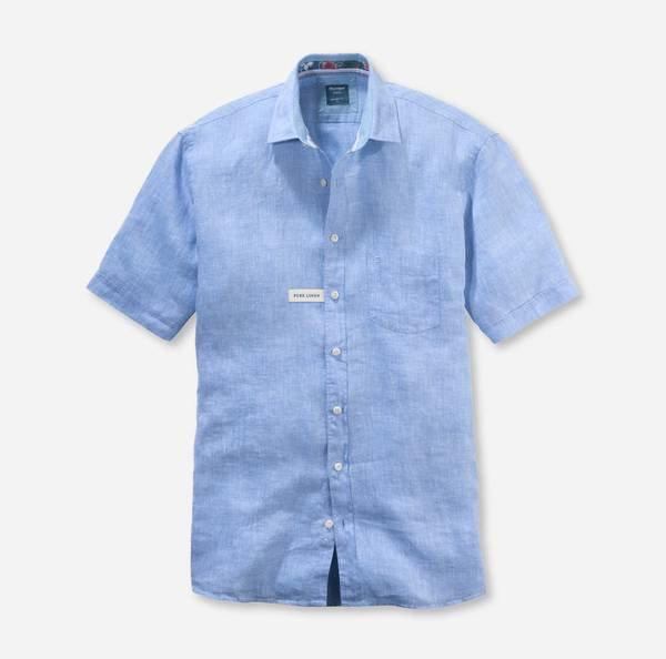 Bilde av Olymp lin skjorte lyseblå kort erm - Modern fit