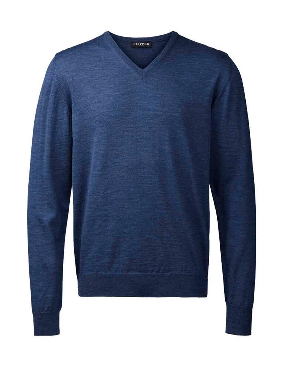 Clipper blå V hals genser