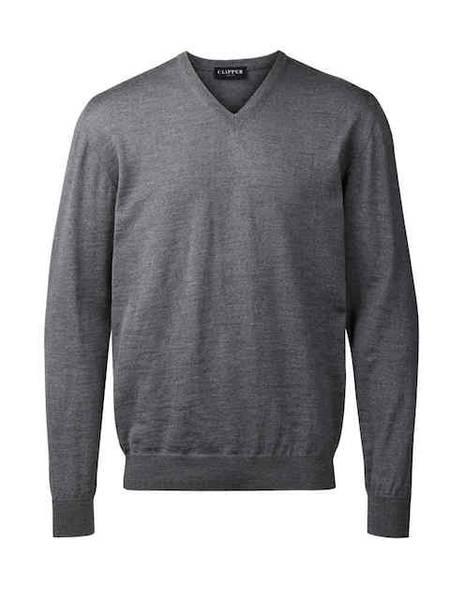 Bilde av Clipper lys grå V hals genser