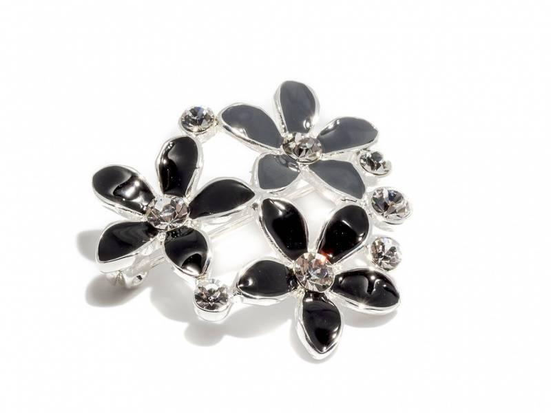 60502 Blomster i sort og grå emalje med klare stener
