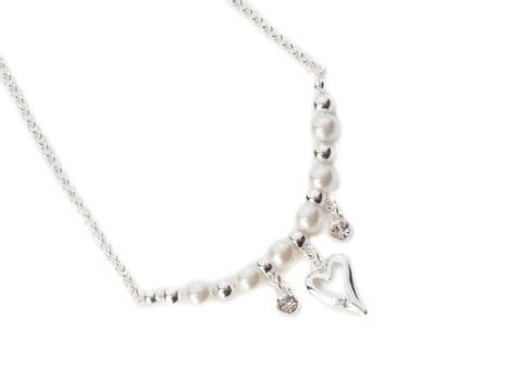 Bilde av 10641 Kort hvite perler hjerte og stener