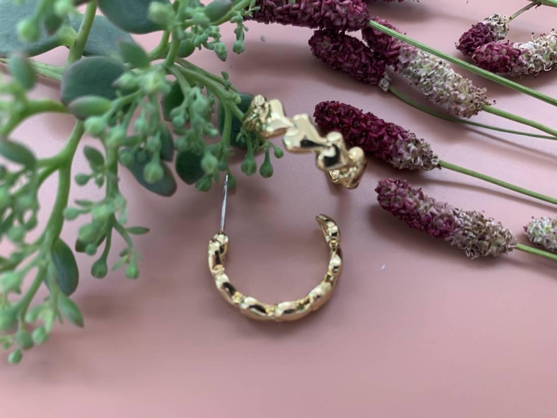 60150 Øredobb ring med hjerter gullfarget