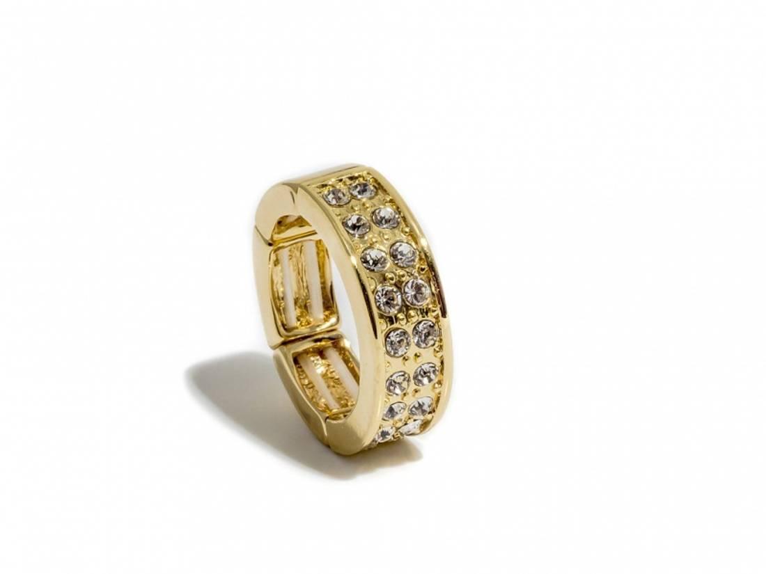 50103 Ring gullfarget med blanke stener rundt