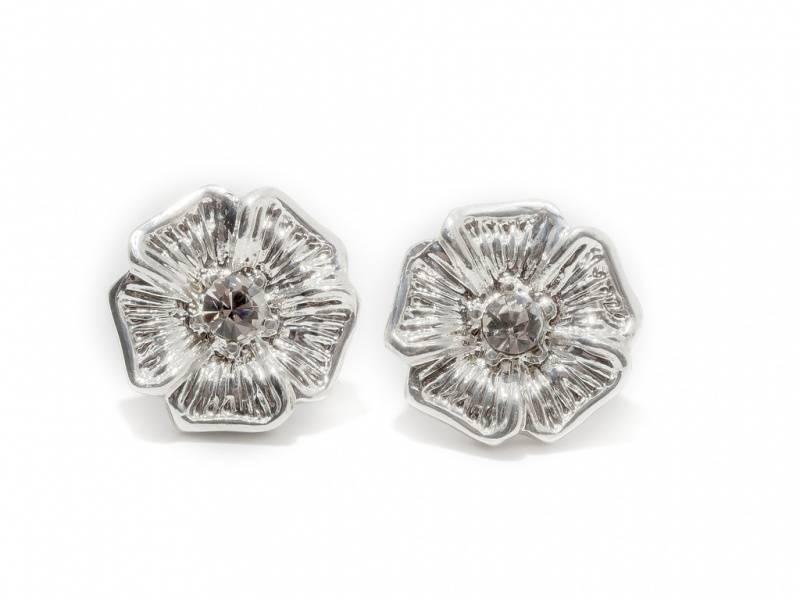 70106 Øredobber logo blomst sølvfarge