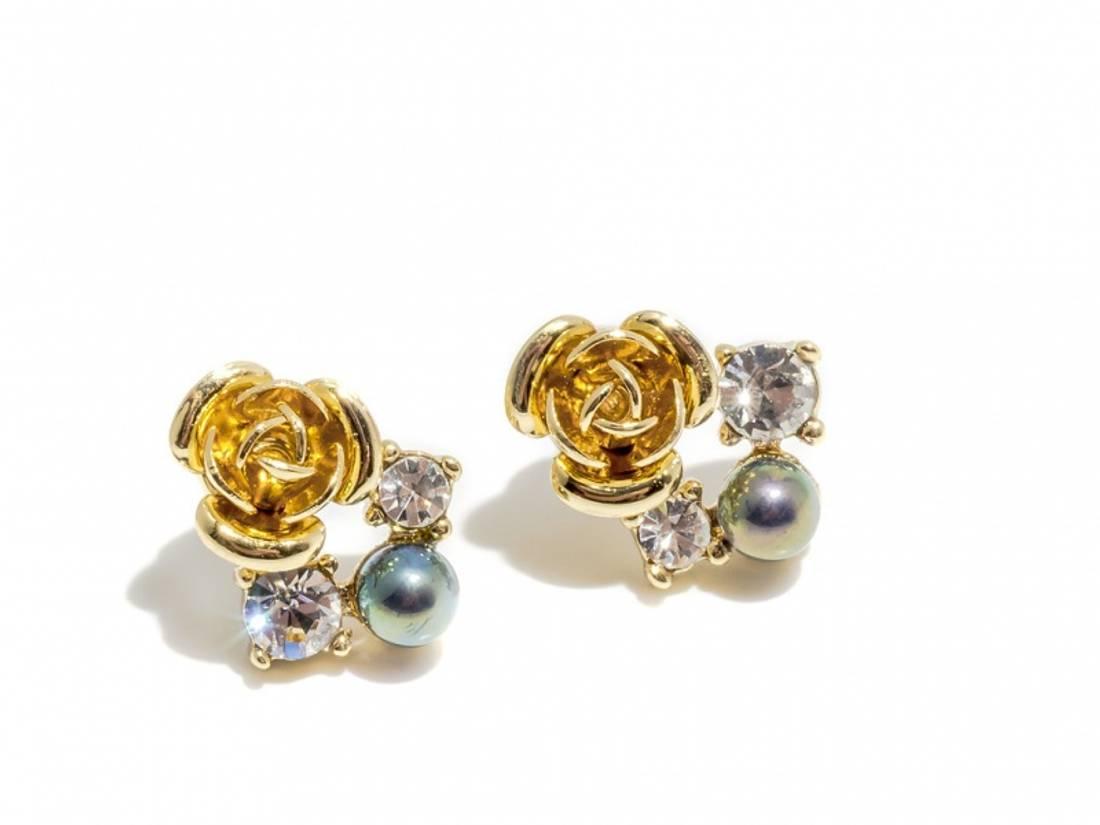 70115 Øredobber gullrose med stener og perle
