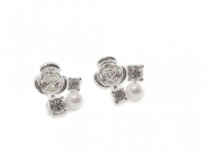 70124 Øredobber sølvfarget med rose blanke stener og perle