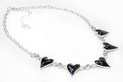 Bilde av 10554 Kort smykke sorte emalje hjerter