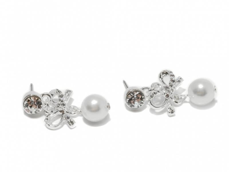 70132 Øredobber med sløyfe med stener og liten hvit perle
