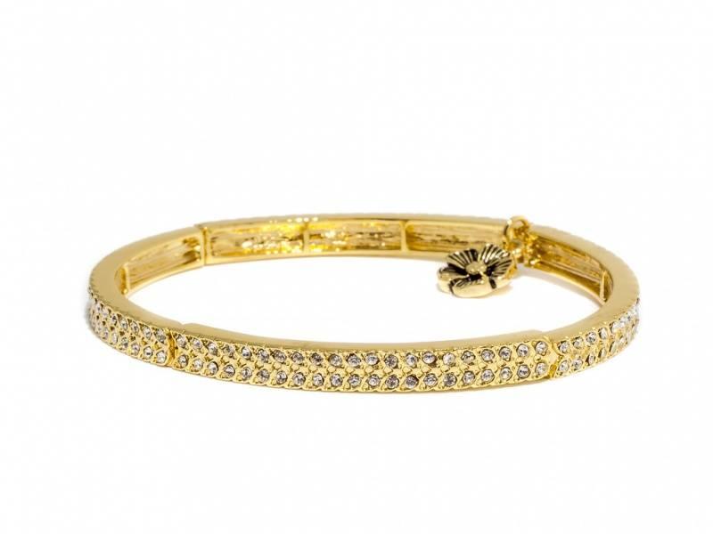 80114 Armbånd med strikk gullfarget med blanke stener
