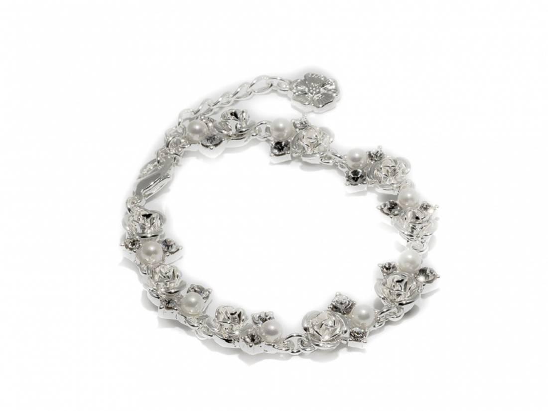 80133 Armbånd sølvfarget med små roser, perler og stener
