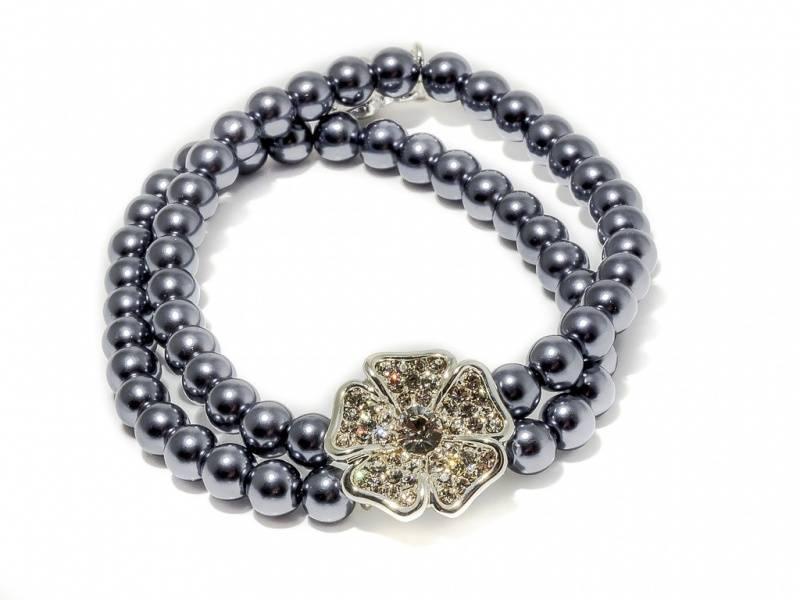 80138 Armbånd strikk grå perler blomst med stener
