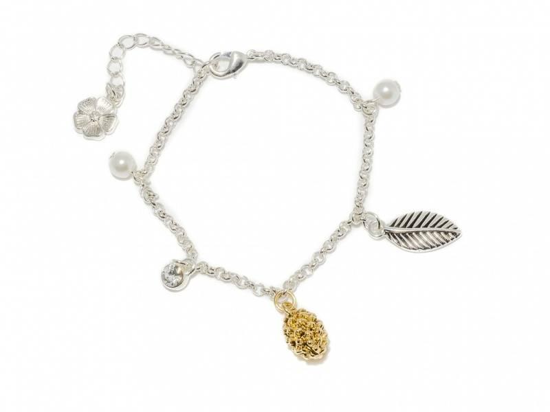 80139 Armbånd med kongle, blad og perler